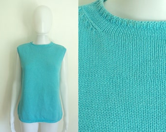 50%OFF July29-31 80s sweater vest size large, sky blue knit cotton sleeveless sweater top 1980s talbots designer womens waistcoat waist coat