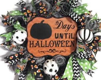 Halloween Wreath, Deco Mesh Halloween Wreath, Deco Mesh Wreath,  Fall Wreath, Pumpkin Wreath, Wreath
