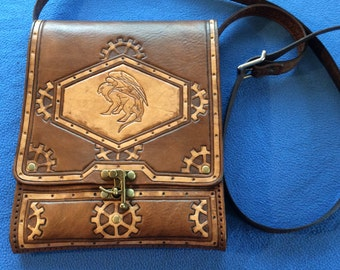 Hand Tooled Leather Steampunk Messenger Bag