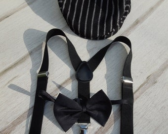 Boys Black Tie Set, Suspenders-Bow Tie-Page Boy Hat, Wedding Set for Boys, Toddler Hat and Suspenders