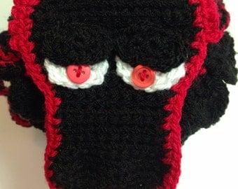 Handmade crochet Dragin scale lined pouch drawstring bag