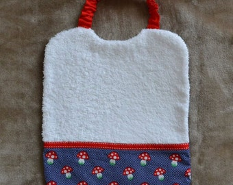 Elastic bib cotton Navy Blue, red and white