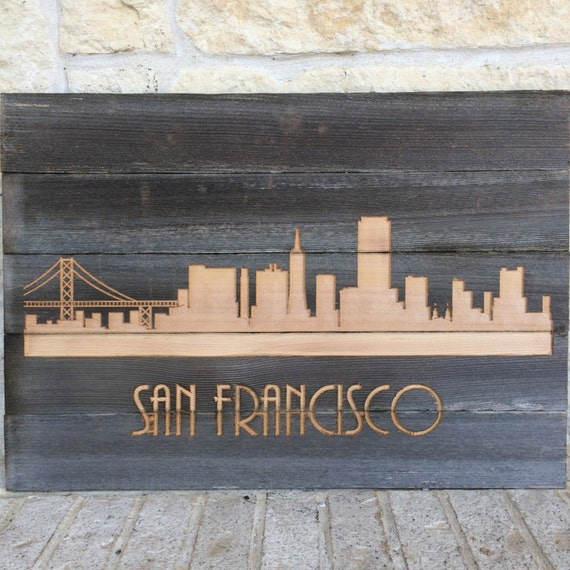 Reclaimed rustic san francisco city skyline pick your city for Salvaged wood san francisco