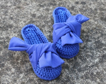 Blue slides with knotted bow | Luxury home mules | Babouche crochet slippers | Blue mule flats with cotton bows accent at uppers