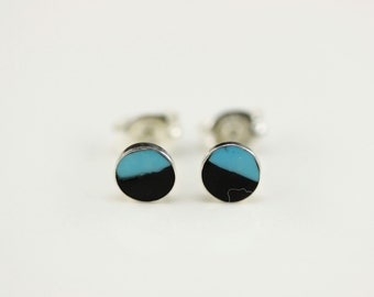 Native American Zuni .925 Sterling Silver Turquoise And Jet Post Earrings
