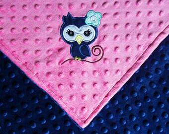 Owl Minky blanket. Baby girl owl blanket.