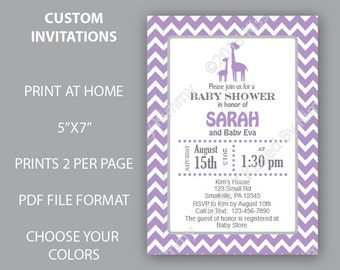 Giraffe Baby Shower Invitations Purple Giraffe Chevron Baby Shower- PRINTABLE Baby Shower Decorations- Lavender Grey Giraffe Gray Purple