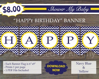 75% off SALE Navy Yellow HAPPY BIRTHDAY Banner -Printable Nautical Birthday Banner- Navy Blue Yellow White-Chevron Deere Party Decorations
