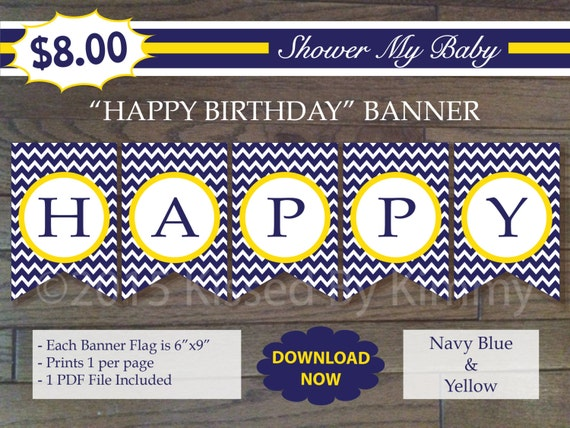 items similar to 75  off sale navy yellow happy birthday