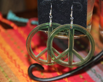 Vintage Peace Sign Hoop Earrings Plastic Green or yellow Halloween Costume Unique 1970's