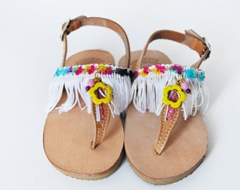 OFFER LAST piece ! NO. 24 - Kids leather sandals with white fringes and colored ornaments/ children shoes/ birthday present