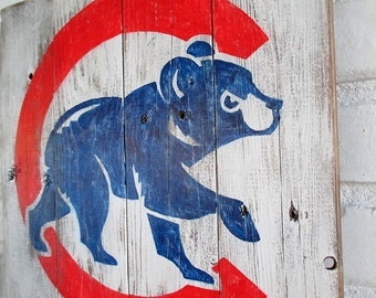 Chicago Cubs Reclaimed Wood Rustic Baseball Sign Decor