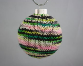 Christmas ornament hand knit glass ball; knit covered ball; knit Christmas ornament; hand knit Christmas ball ornament; covered glass ball