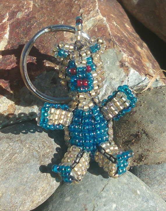 3D Sapphire Blue / Champagne Gold Beaded Bear Key-Ring with Czech Glass seed beads.