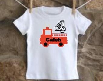 custom personalized boys birthday shirt fire truck vinyl