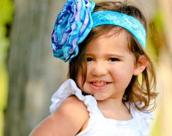 Lavender and Aqua Girls Singed Flower Headband