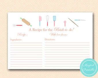 Recipe Game, Recipe Cards, Recipe Bridal Shower, Kitchen Theme, Bridal Shower Games, Unique Bridal Shower Games, Wedding Shower Games BS20