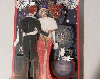 Christmas card in unique art Deco style for that special person
