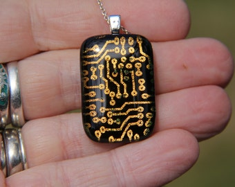 Gold circuit board dichroic glass pendant, dichroic necklace, fused glass, circuit board fused glass pendant , gold dichroic
