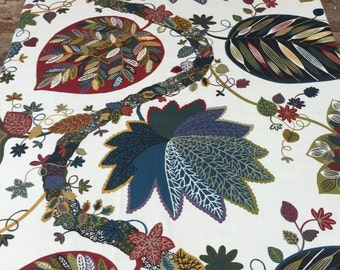 Tablecloth with colored leaves garland, stylized tree leaves, modern tablecloth