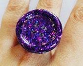 Button ring, purple sparkle, adjustable, resin glitter button, statement ring,
