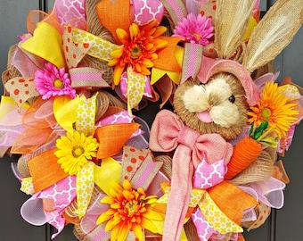 Easter Bunny Wreath - Easter Wreath - Bunny Wreath - Spring Wreath - Pink and Orange Wreath