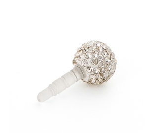 Crystal disco ball Iphone smartphone charm Anti dust earphone plug asc14 AB