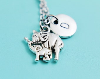 Mother and Baby Elephant Pendant Charm Necklace, Elephant Jewelry, Personalized, Silver Elephant Pendant ,Indian Elephant Charm Necklace
