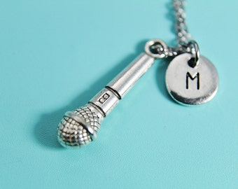Microphone Necklace Mic Pendant Necklace Silver Mic Charm with Personalized Initial Necklace Monogram Custom Jewelry
