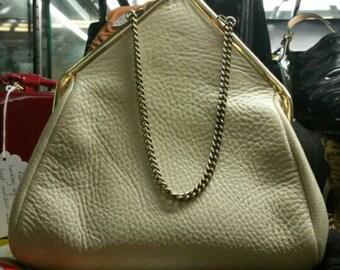 Cream Leather Handbag with Suede Lining