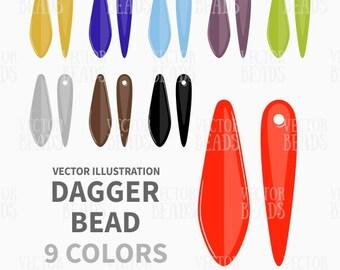 Czech Dagger Beads Vector Graphics - Bead Clip Art Set - ai, eps, pdf, png