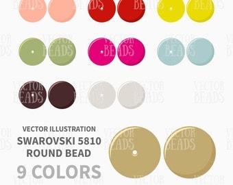 Swarovski 5810 Round Bead Clip Art Set - Vector Illustration - ai, eps, pdf, png