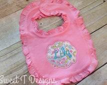 Baby girl bib - Baby girl gift - Personalized baby girl bib - Embroidered baby bib - Ruffle baby bib - Baby shower gift - Newborn girl