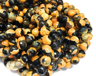 8mm Faceted Orange-Yellow/Black Fire Agate Gemstones Full Strand (48 Round Beads)