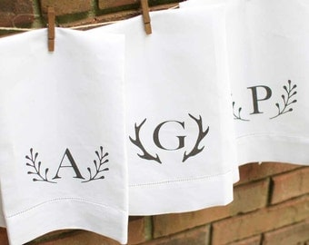 Monogram Hand Towel | Rustic Tea Towel | Gift for Brides | Linen | Monogrammed Wedding Gift | Personalized Gift | Hostess | Teacher Gifts