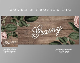 Timeline Cover + Profile Picture 'Grainy' Cover, Profile Picture, Branding, Web Banner, Blog Header | wood, flowers, pink, brown, decorative