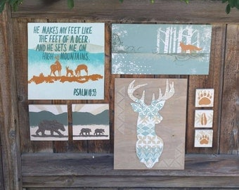 Over the Mountains and Through the Woods - 8 piece collection - gallery wall