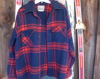 Maine Guide CPO Jacket Retro Vintage Wool Clothing c.1970s  (Size 38?)