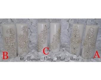 Large crystallized candles - Set of 2