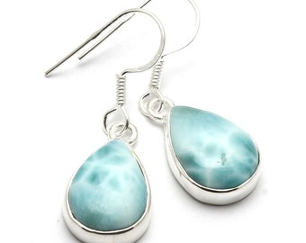 Larimar Earrings, 925 Sterling Silver, Unique only 1 piece available! color blue, weight 4.2g, #44173