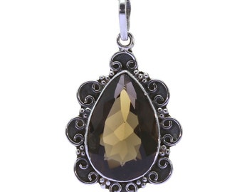 Smoky Quartz Pendant, 925 Sterling Silver, Unique only 1 piece available! color brown, weight 4.9g, #37004
