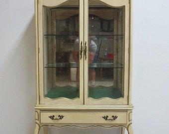 Vintage French Carved Painted Curio Crystal Cabinet Hutch Display