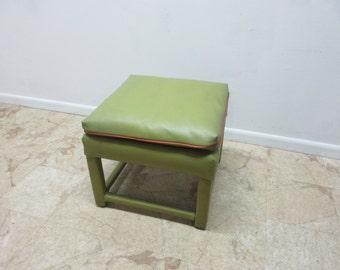 Vintage Mid Century Naugahyde Vinyl Parson Foot Stool Ottoman Bench  B