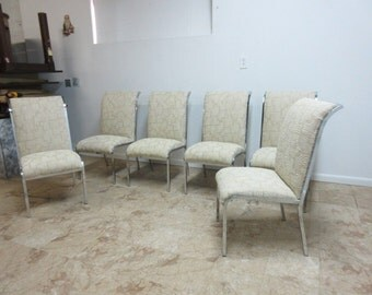 6 Vintage Design Institute Of America Chrome Square Stock Dining Room Side Chair