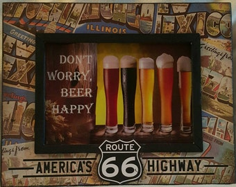 Don't Worry, Beer Happy - Pilsner Print In Route 66 Frame
