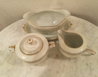 """Vintage Holly China Narumi """"Laurel"""" Gravy Boat Attached Underplate, Sugar Bowl & Lid, And Creamer Set. Made In Occupied Japan. Discontinued"""