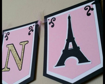 Parisian Happy Birthday Banner, Paris Name Banner w/ tulle. It's  A Boy/Girl Baby Shower Banner