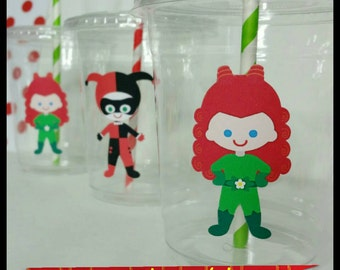 12 Girl Superhero Villain Themed Party Cups with Striped Straws and Lids!, Girl  Villian Plastic Party Cups