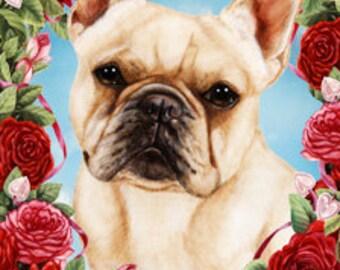 French Bulldog Cream - Tamara Burnett Valentine Roses Flag: 28 x 40 inches