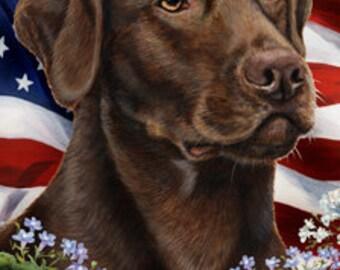 Chocolate Labrador - Tamara Burnett Patriotic Large Flag: 28 x 40 inches
